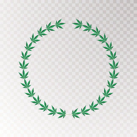 wreath with marijuana leaves, vector illustration Stock Illustratie