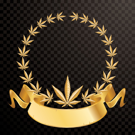wreath with golden marijuana leaves and blank banner, vector illustration