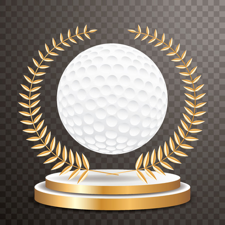 golf ball on golden pedestal with golden wreath