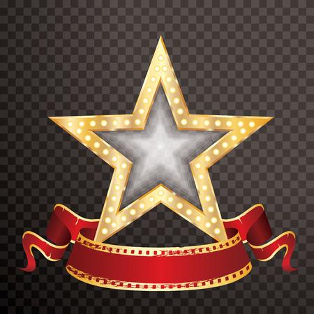 3D golden movie star with blank red film banner on transparent background, isolated vector illustration Reklamní fotografie - 124715379