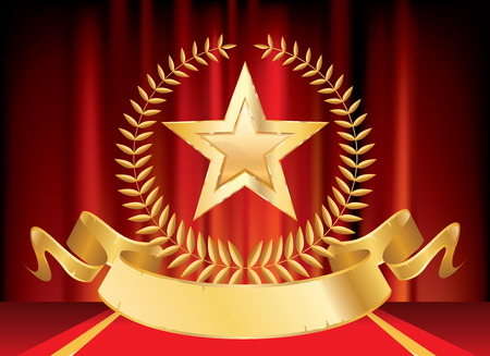 3D golden movie star with blank film banner on red carpet background, isolated vector illustration Фото со стока - 129274292