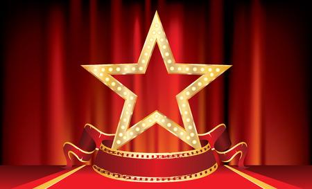 3D golden movie star with blank film banner on red carpet background, isolated vector illustration Reklamní fotografie - 124715380
