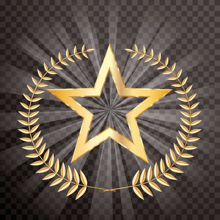 golden laurel wreath with golden star on transparent burst, vector editable and layered illustration Stock Illustratie