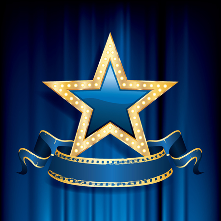 blue glass star with golden frame on blue velvet, vector business success background Çizim