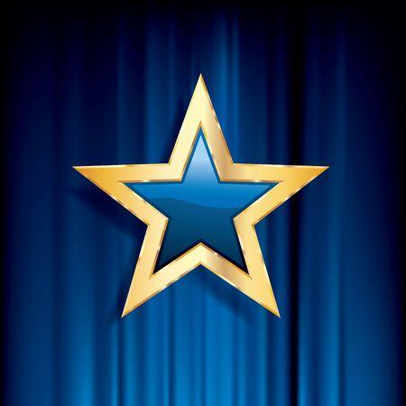 blue glass star with golden frame on blue velvet, vector business success background Ilustração