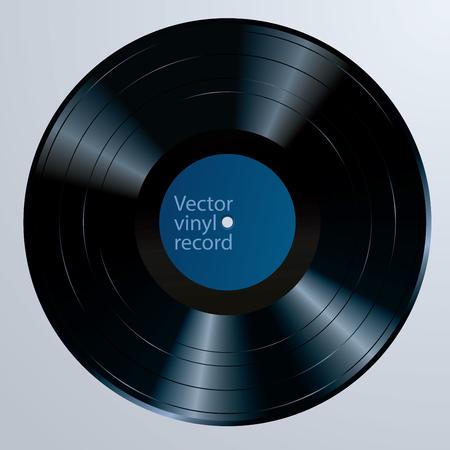 Disque vinyle longue durée avec étiquette modifiable vierge, illustration vectorielle réaliste Vecteurs