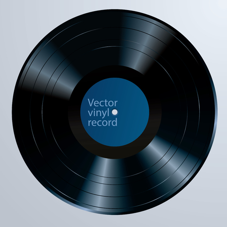 Long play vinyl record with blank editable label, vector realistic illustration Фото со стока - 129274299