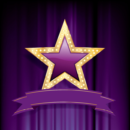 violet glass star with golden frame on purple velvet, vector business success background