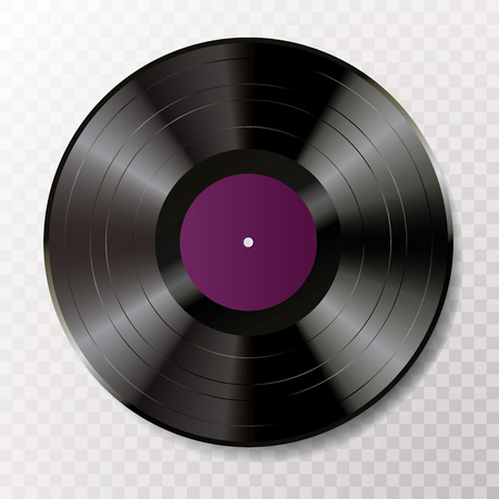 Long play vinyl record with blank editable label, vector realistic illustration Illustration