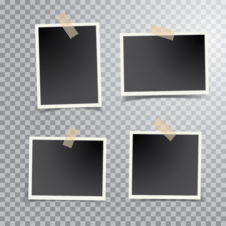 four blank photos isolated with transparent shadow, layered and editable vector illustration Фото со стока - 129274301