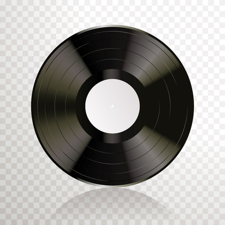 Long play vinyl record with blank white editable label, vector realistic illustration