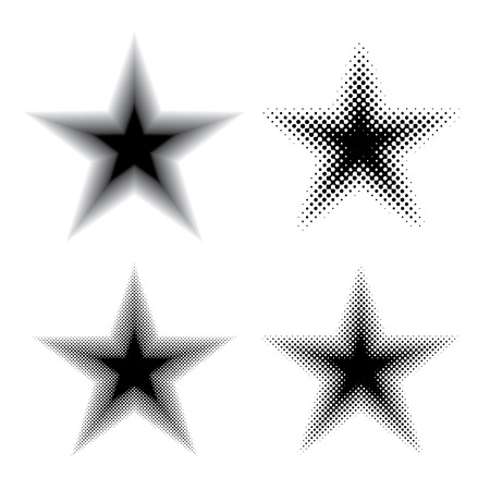 collection of four stars, halftone dotted raster stars