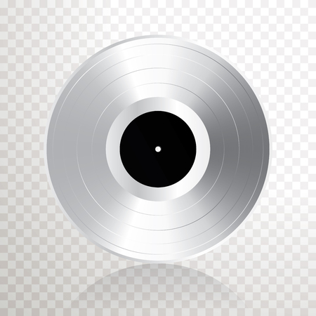 realistic silver or platinum vinyl plate, retro music success background