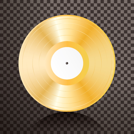 realistic golden vinyl plate, retro music success background