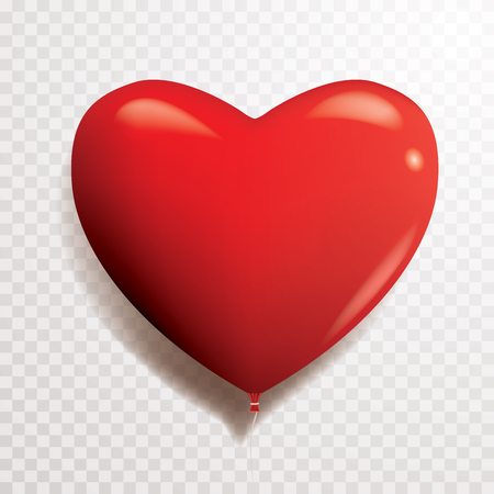 red heart balloon, vector illustration