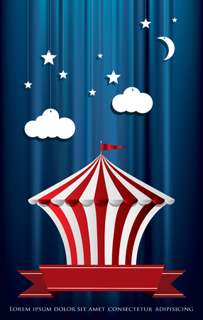 poster for circus with paper clouds on blue velvet curtain Иллюстрация