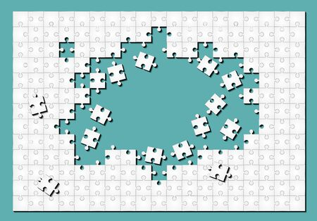 Background with puzzle white mosaic, details, tiles, parts. Square outline pattern jigsaw. Game group detail. Ilustracja