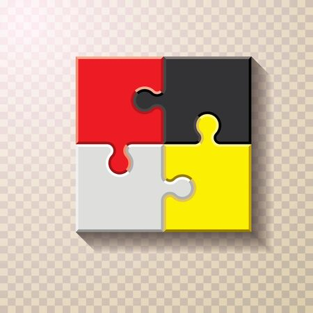color finished jigsaw puzzle. Blank simple editable symbolic background. Иллюстрация