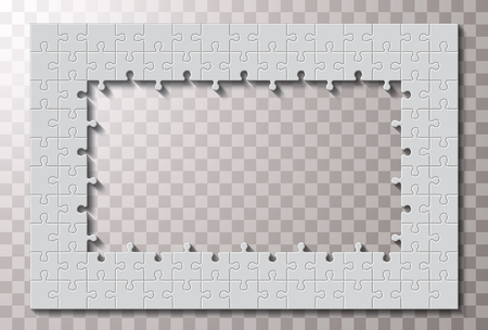 White unfinished jigsaw puzzle. Blank simple editable symbolic background.