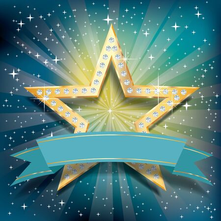 golden star with diamonds on turquoise starburst with blank blue banner Фото со стока - 125016680