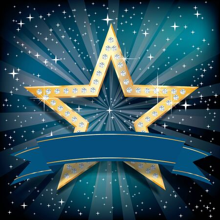 golden star with diamonds on blue starburst with blank blue banner 写真素材 - 124883165