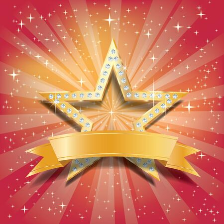 golden star with diamonds on blue starburst with blank blue banner Фото со стока - 129274720