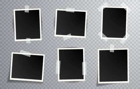 six blank instant photos isolated with transparent shadow, layered and editable vector illustration