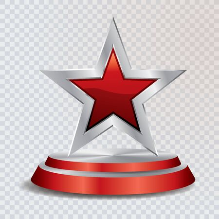red silver star on silver and red podium, vector template for cosmetics, show business, sports or something else Иллюстрация