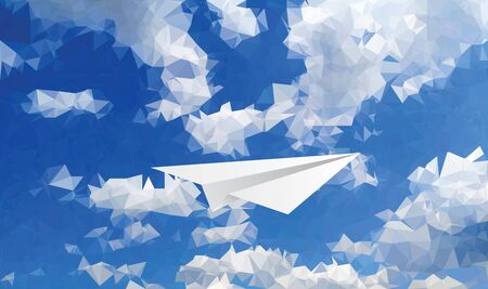 vector abstract background with paper plane in cloudy sky Фото со стока - 129274733