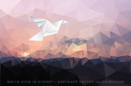 vector illustration with paper bird on triangulated sky, low poly Иллюстрация