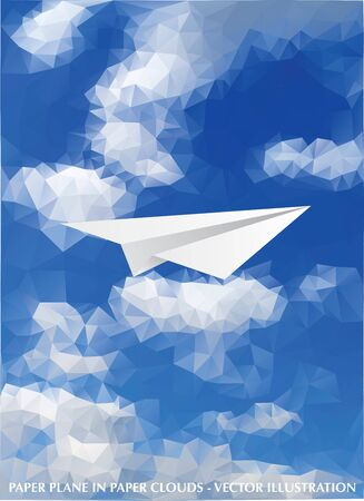 vector abstract background with paper plane in cloudy sky 免版税图像 - 129274738