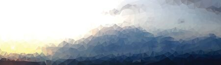 vector abstract background with low poly sunset landscape Ilustração