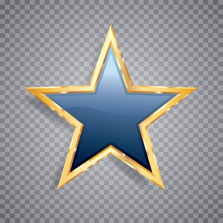 golden blue star with transparent shadow, commercial success icon Фото со стока - 129274741