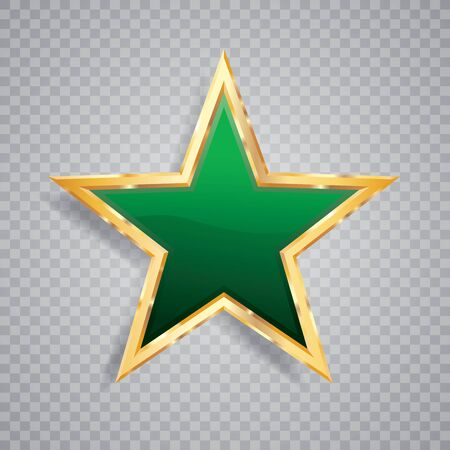 golden green star with transparent shadow, commercial success icon Фото со стока - 129274740