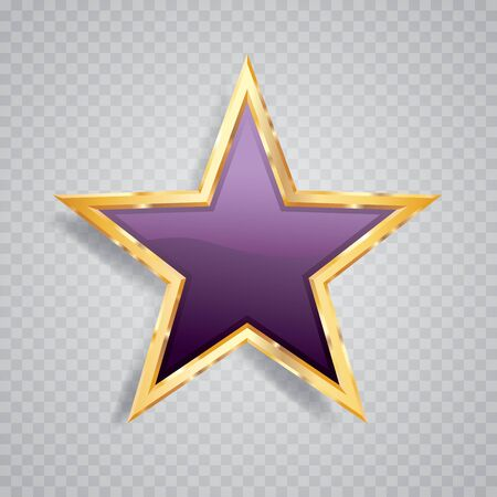 golden purple star with transparent shadow, commercial success icon Фото со стока - 129274747