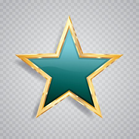 golden turquoise star with transparent shadow, commercial success icon Фото со стока - 129274695