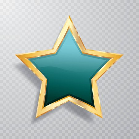 golden turquoise star with transparent shadow, commercial success icon