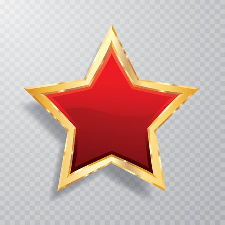 golden red star with transparent shadow, commercial success icon