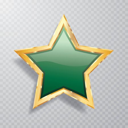 golden green star with transparent shadow, commercial success icon Фото со стока - 129274699