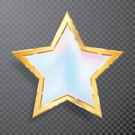 golden opal white star with transparent shadow, commercial success icon Фото со стока - 129274709