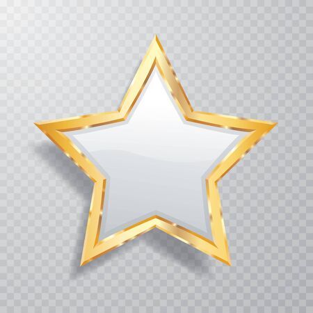 golden opal white star with transparent shadow, commercial success icon