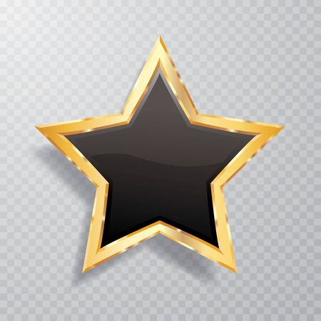 golden black star with transparent shadow, commercial success icon