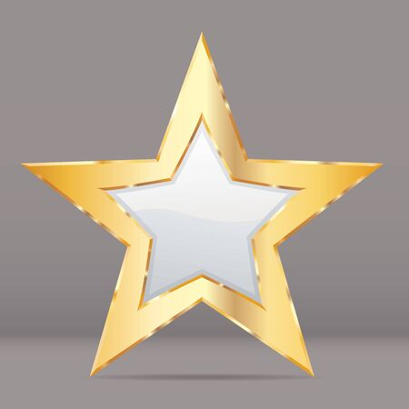 golden white star with transparent shadow, commercial success icon