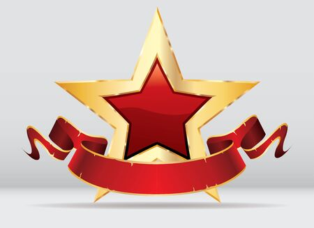 golden red star with blank banner, commercial success icon Фото со стока - 129274708