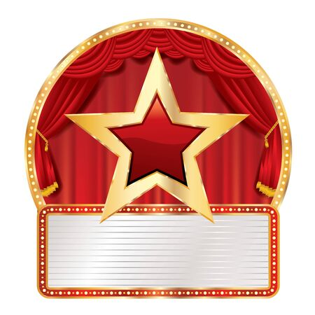 golden red star on circus stage with blank billboard, commercial success icon