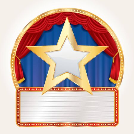 golden white star on circus stage with blank billboard, USA commercial success icon Фото со стока - 129274714