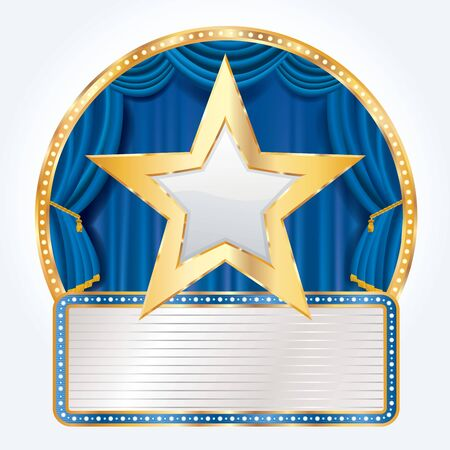 golden white star on circus stage with blank billboard, blue commercial success icon
