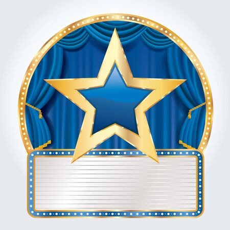 golden blue star on circus stage with blank billboard, blue commercial success icon