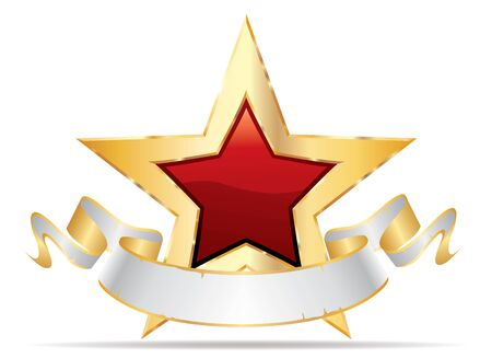 golden red star with white blank banner, commercial success icon
