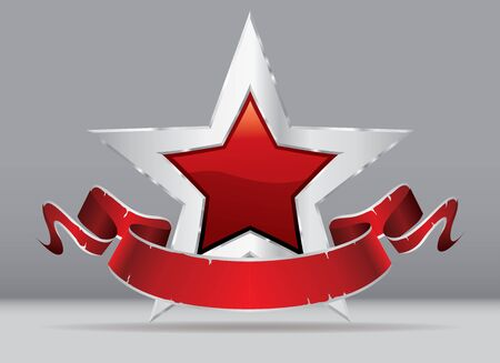 silver red star with blank banner, commercial success icon Иллюстрация
